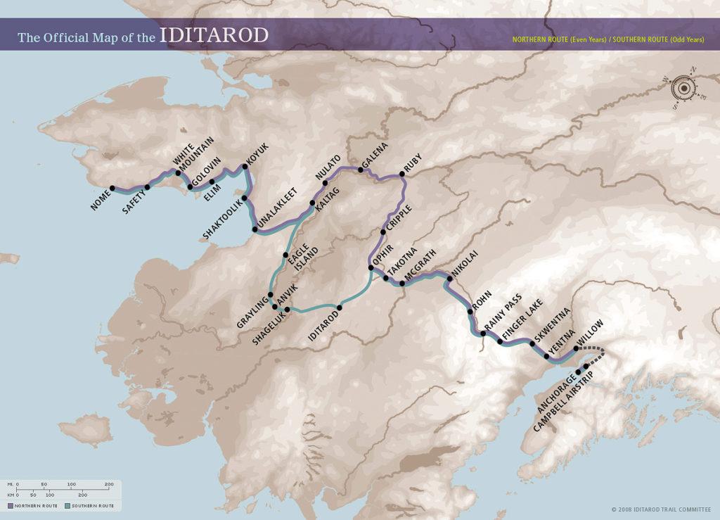 Карта маршрутов Идитарод-2020
