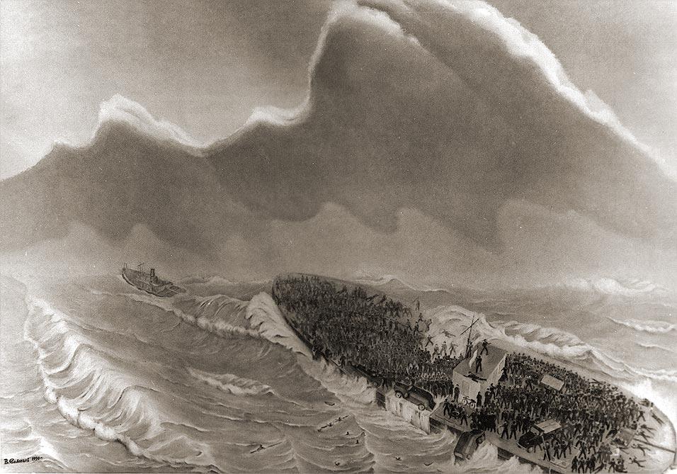 1-я часть триптиха Владимира Солонцова «Ладожская трагедия 17 сентября 1941 г. Баржа № 752»