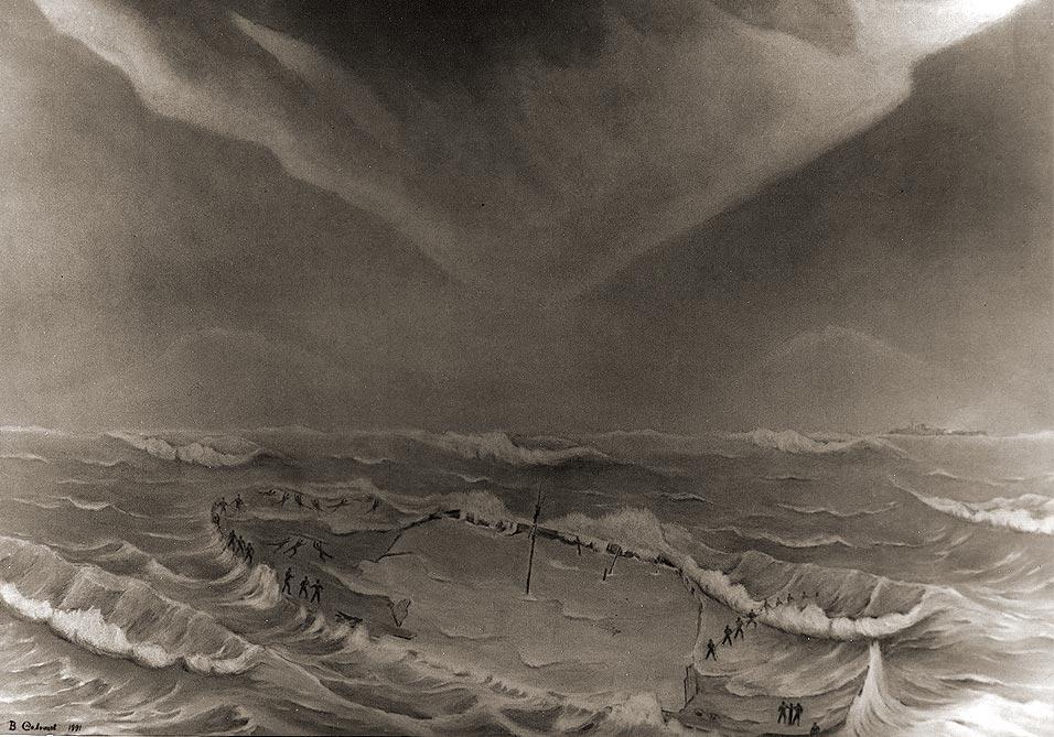 2-я часть триптиха Владимира Солонцова «Ладожская трагедия 17 сентября 1941 г. Баржа № 752»